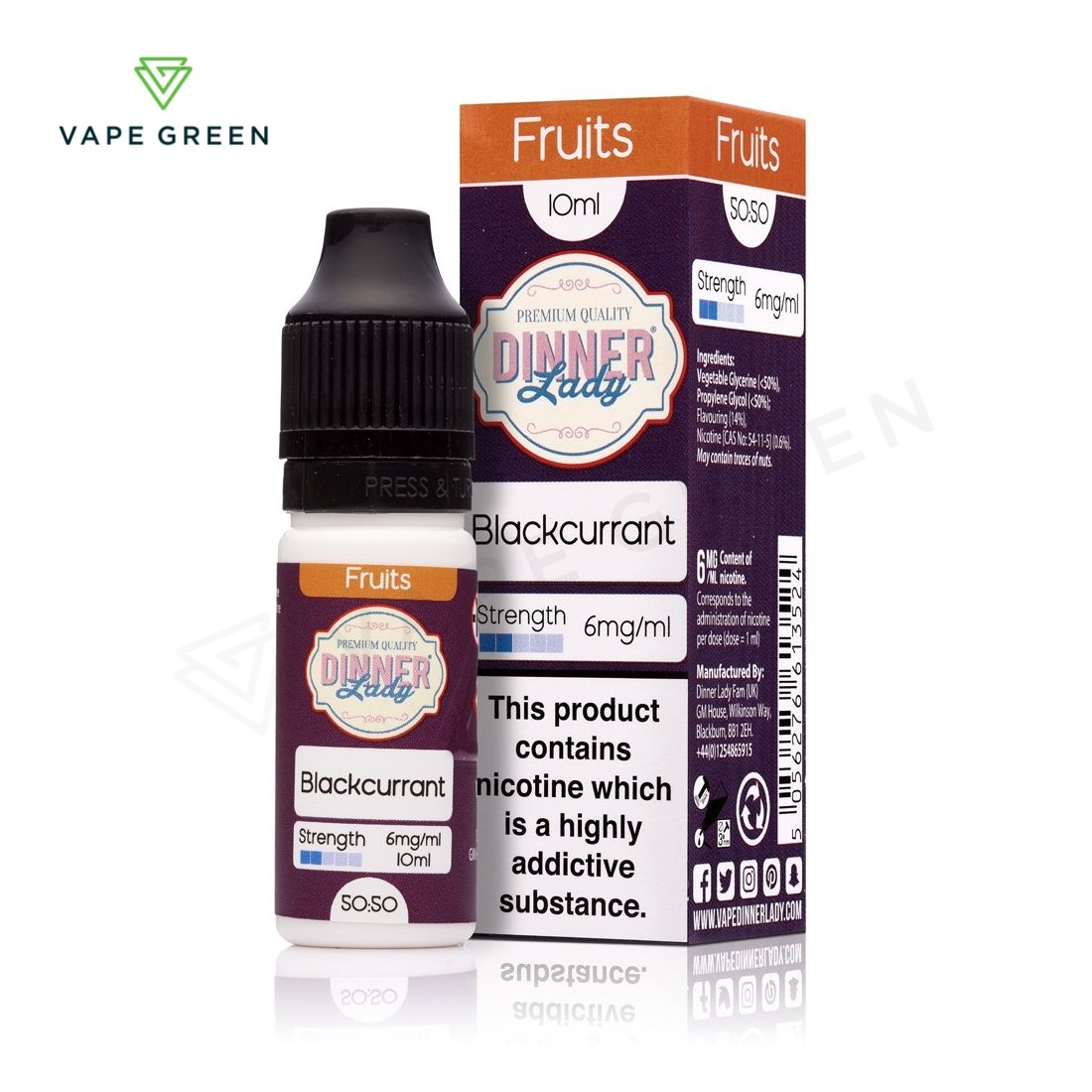 Blackcurrant E-Liquid by Dinner Lady Fruits 50/50