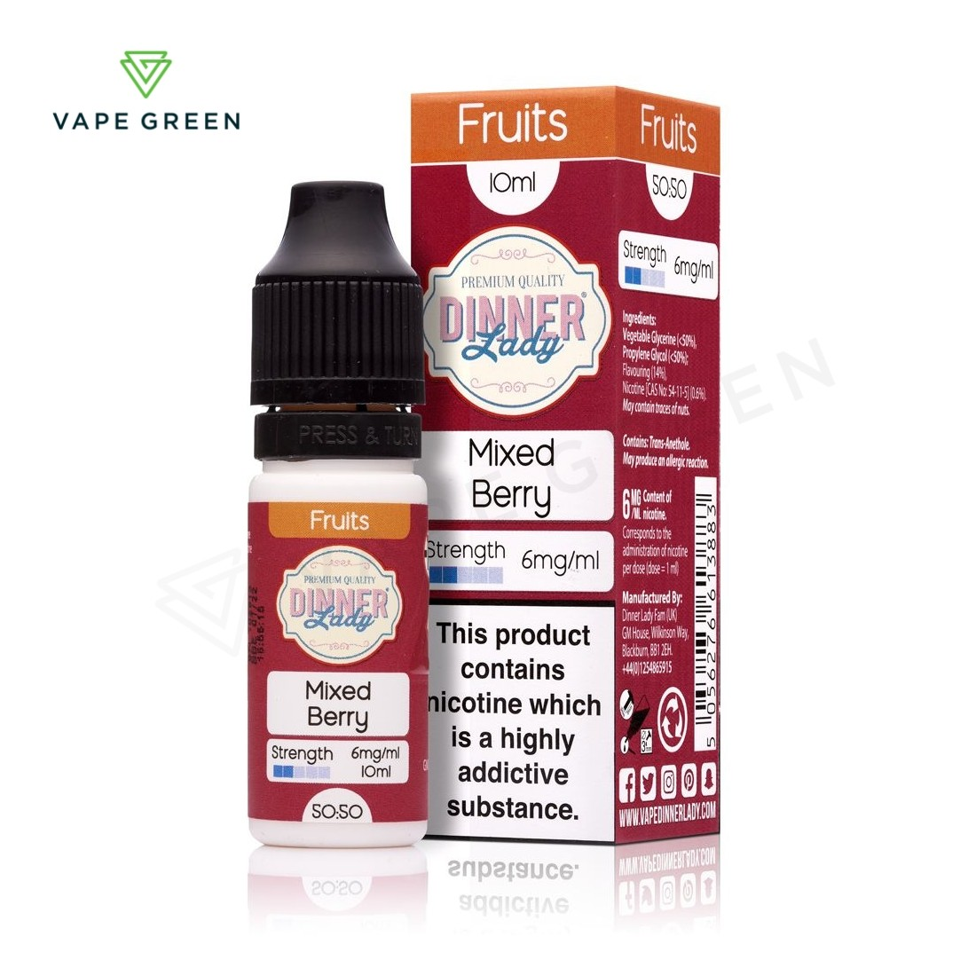 Mixed Berry E-Liquid by Dinner Lady Fruits 50/50