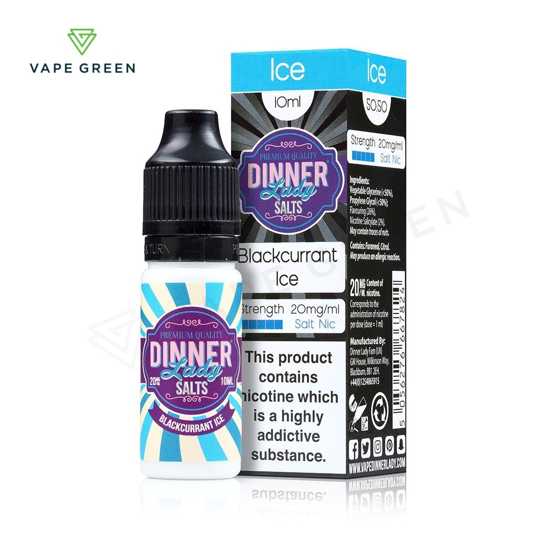 Blackcurrant Ice eLiquid by Dinner Lady Salts