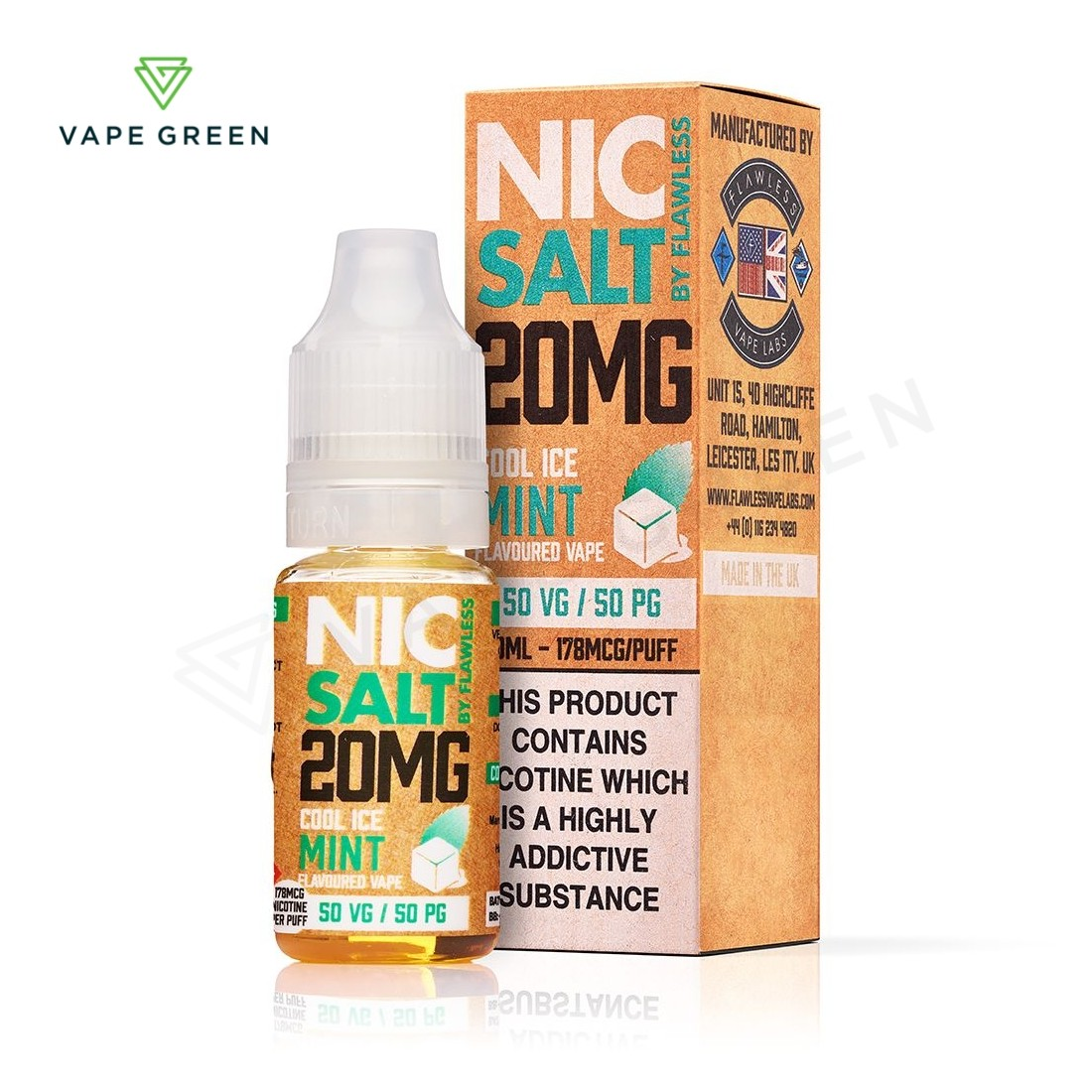 Cool Ice Mint eLiquid by Flawless Nic Salt - 20mg
