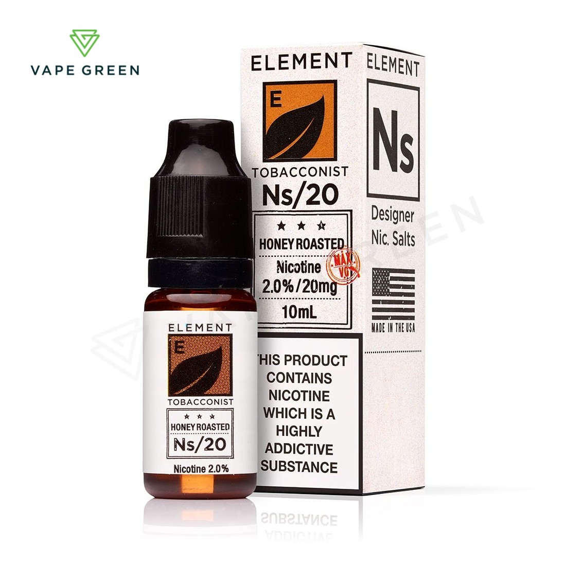 Honey Roasted Tobacco E-liquid by Element NS10 & NS20