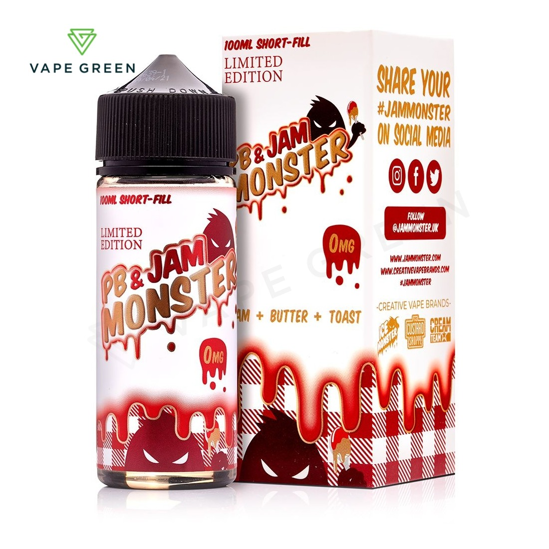 PB and Strawberry E-Liquid by Jam Monster Limited Edition 100ml