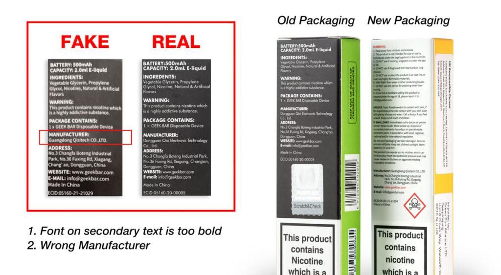 Real vs Fake Back of Box Manufacturer details