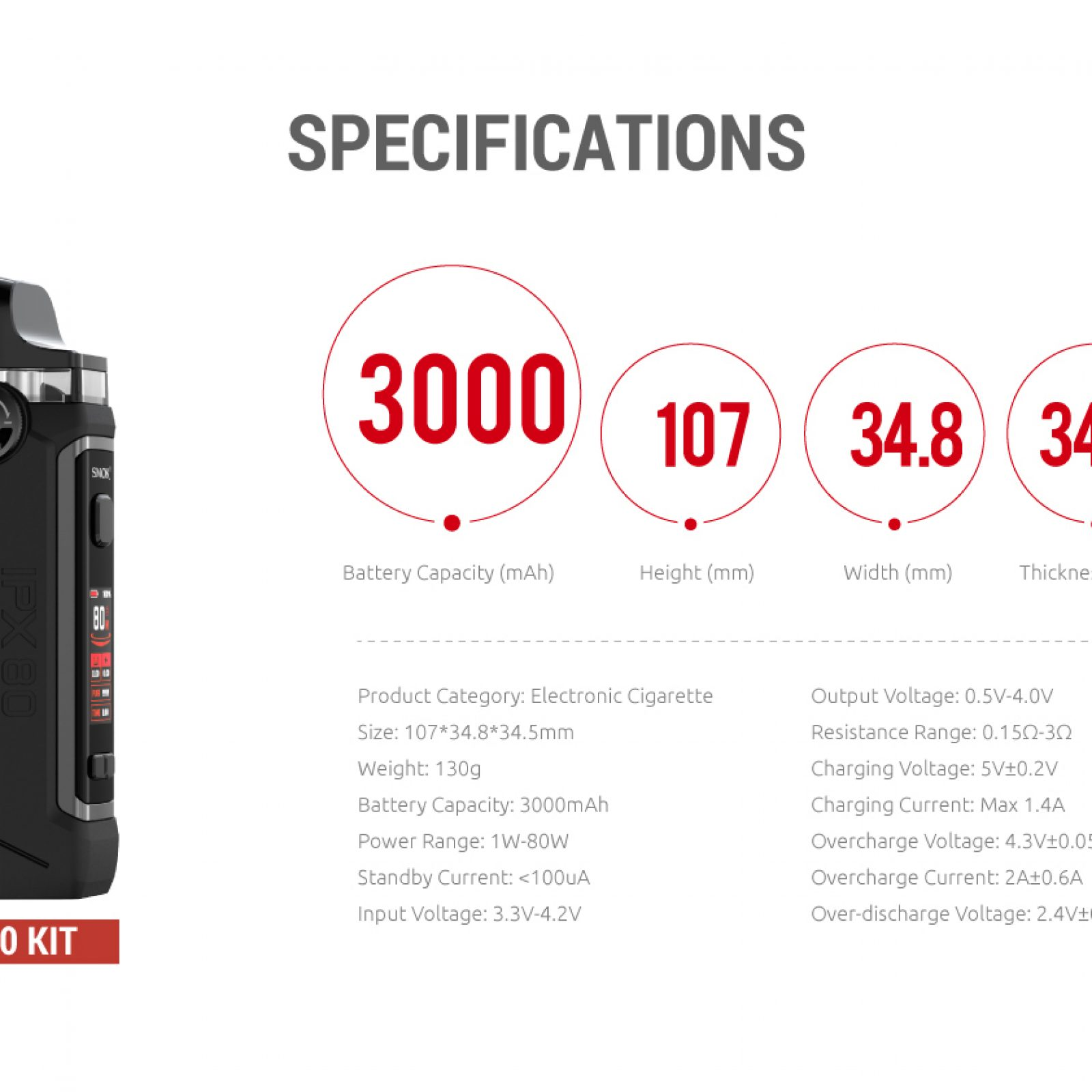 Smok IPX80 specs